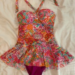 Chaps Bathing Swim Suit w/ pink paisley skirt one